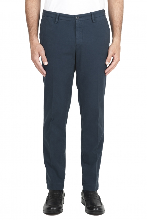 SBU 01544_19AW Pantalon chino classique en coton stretch blue 01