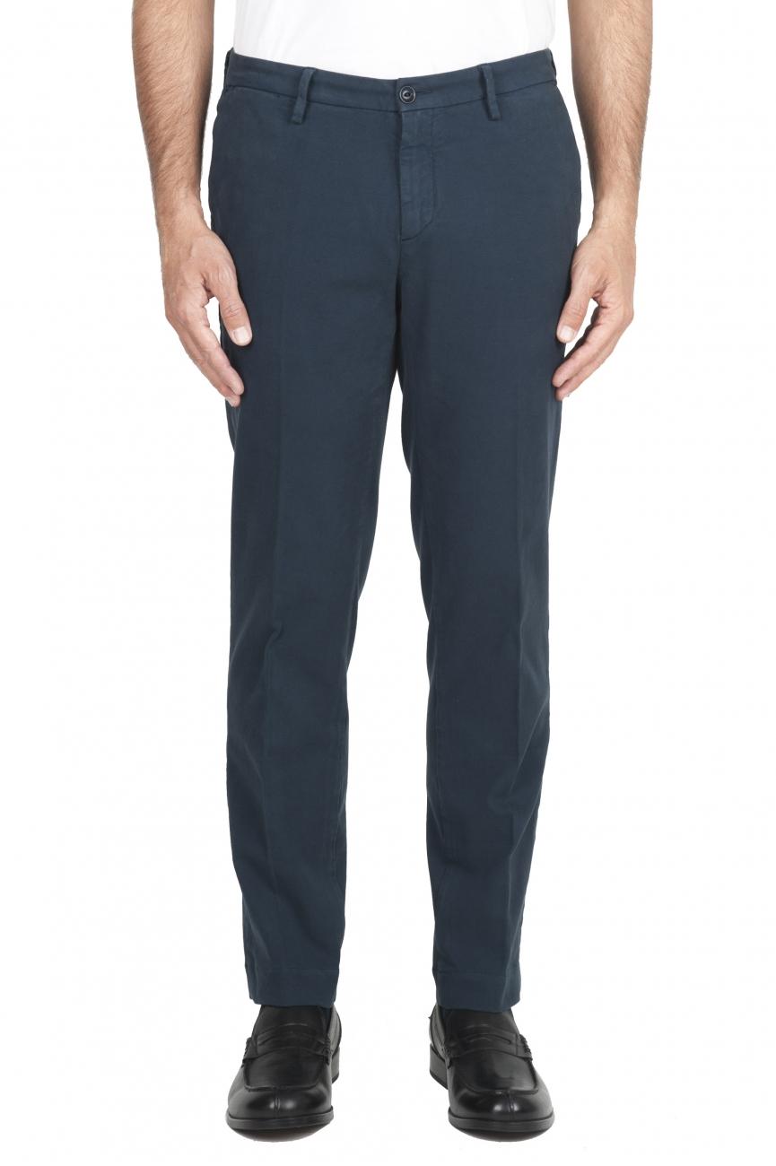 SBU 01544_19AW Classic chino pants in blue stretch cotton 01