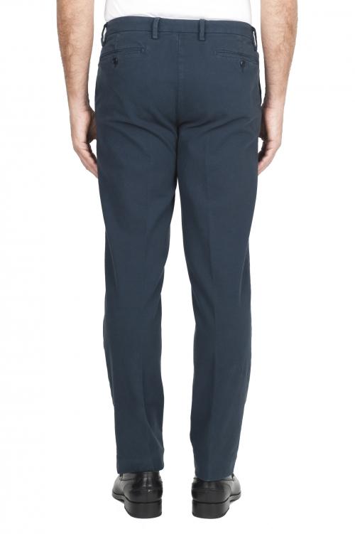 SBU 01544_19AW Pantaloni chino classici in cotone stretch blu 01