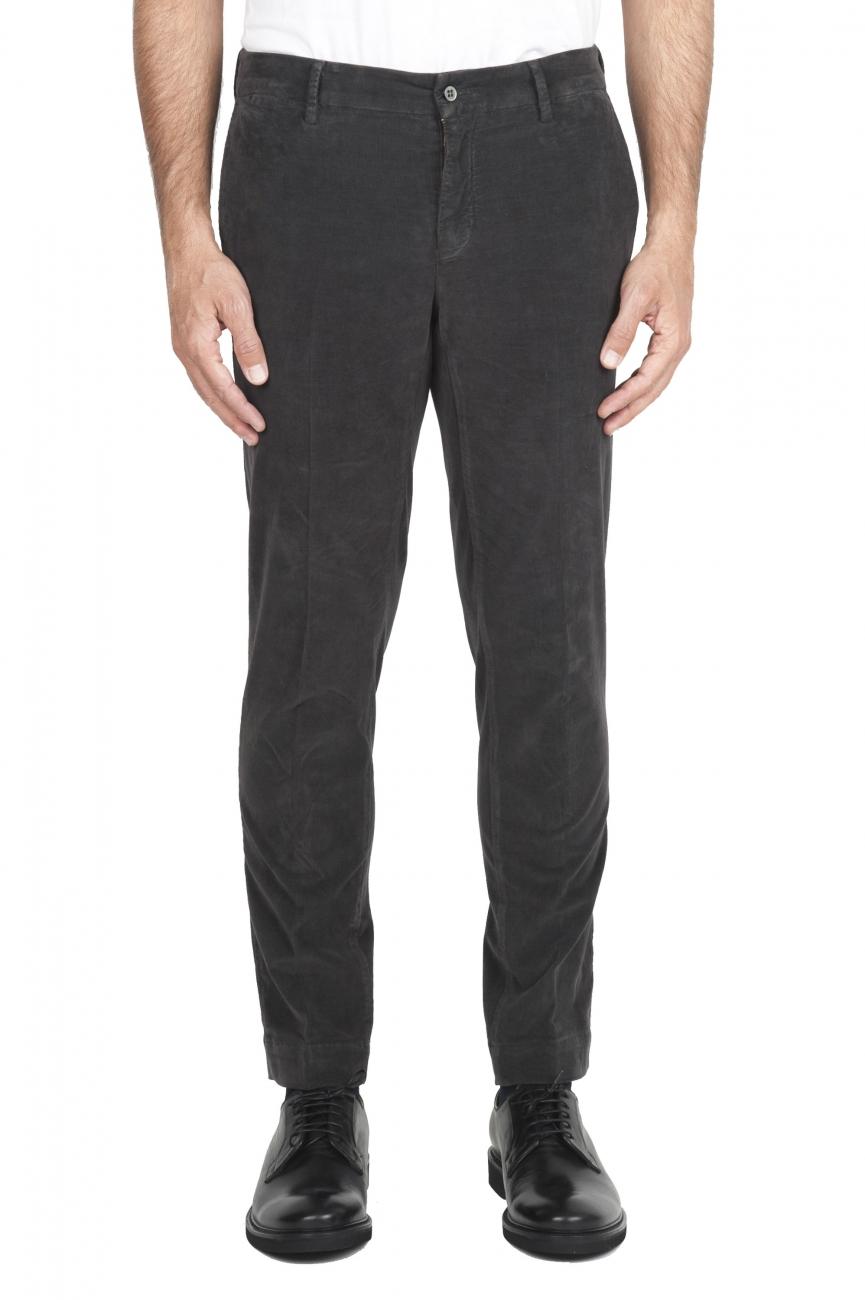 SBU 01545_19AW Pantalon chino classique en coton stretch gris 01