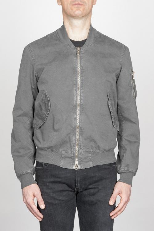 SBU - Strategic Business Unit - Classic Flight Jacket In Grey Stone Washed Cotton