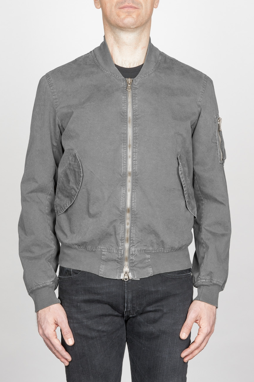 Classic Flight Jacket In Grey Stone Washed Cotton