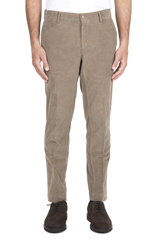 SBU 01546_19AW Pantalones chinos clásicos en algodón elástico beige 01