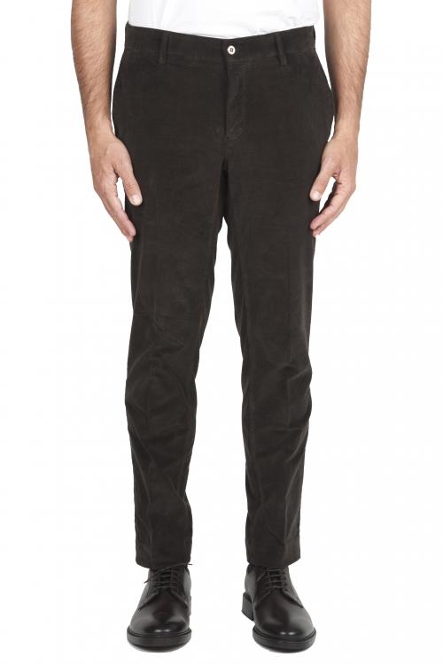 SBU 01547_19AW Classic chino pants in brown stretch cotton 01