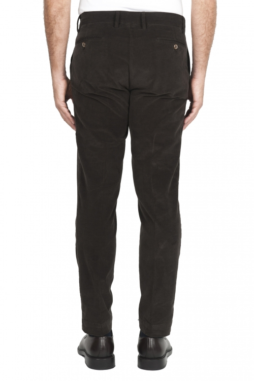 SBU 01547_19AW Pantaloni chino classici in cotone stretch marrone 01
