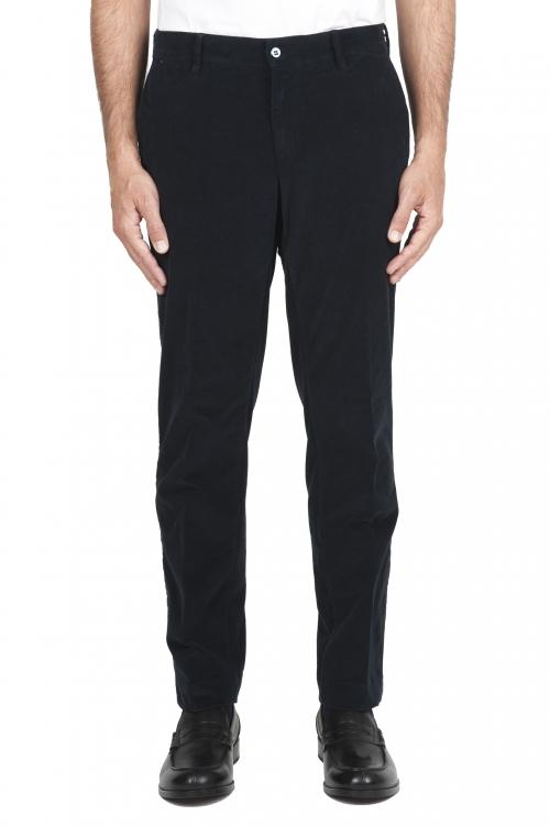 SBU 01548_19AW Classic chino pants in blue stretch cotton 01