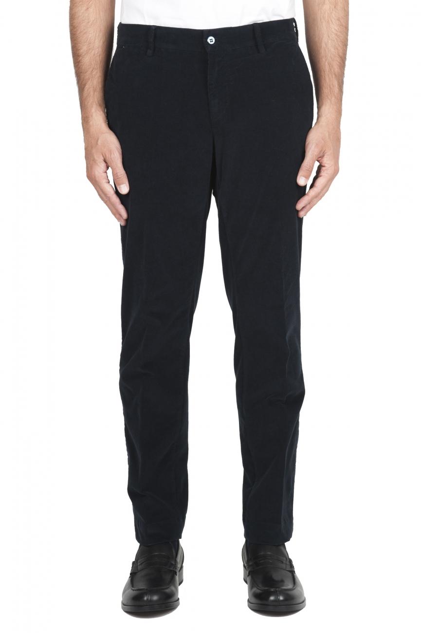 SBU 01548_19AW Pantalon chino classique en coton stretch bleu 01