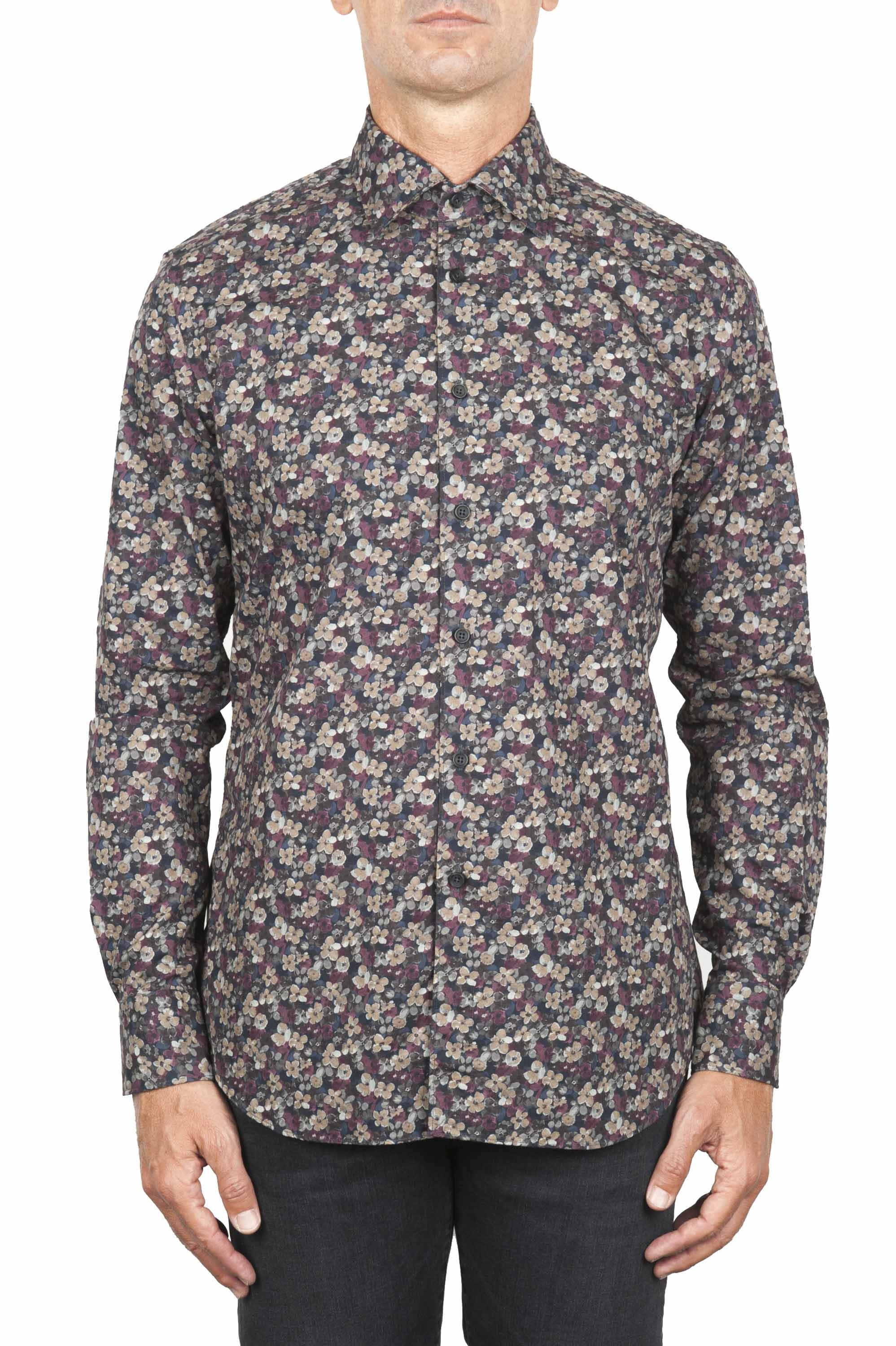 SBU 01821_19AW Floral printed pattern grey cotton shirt 01