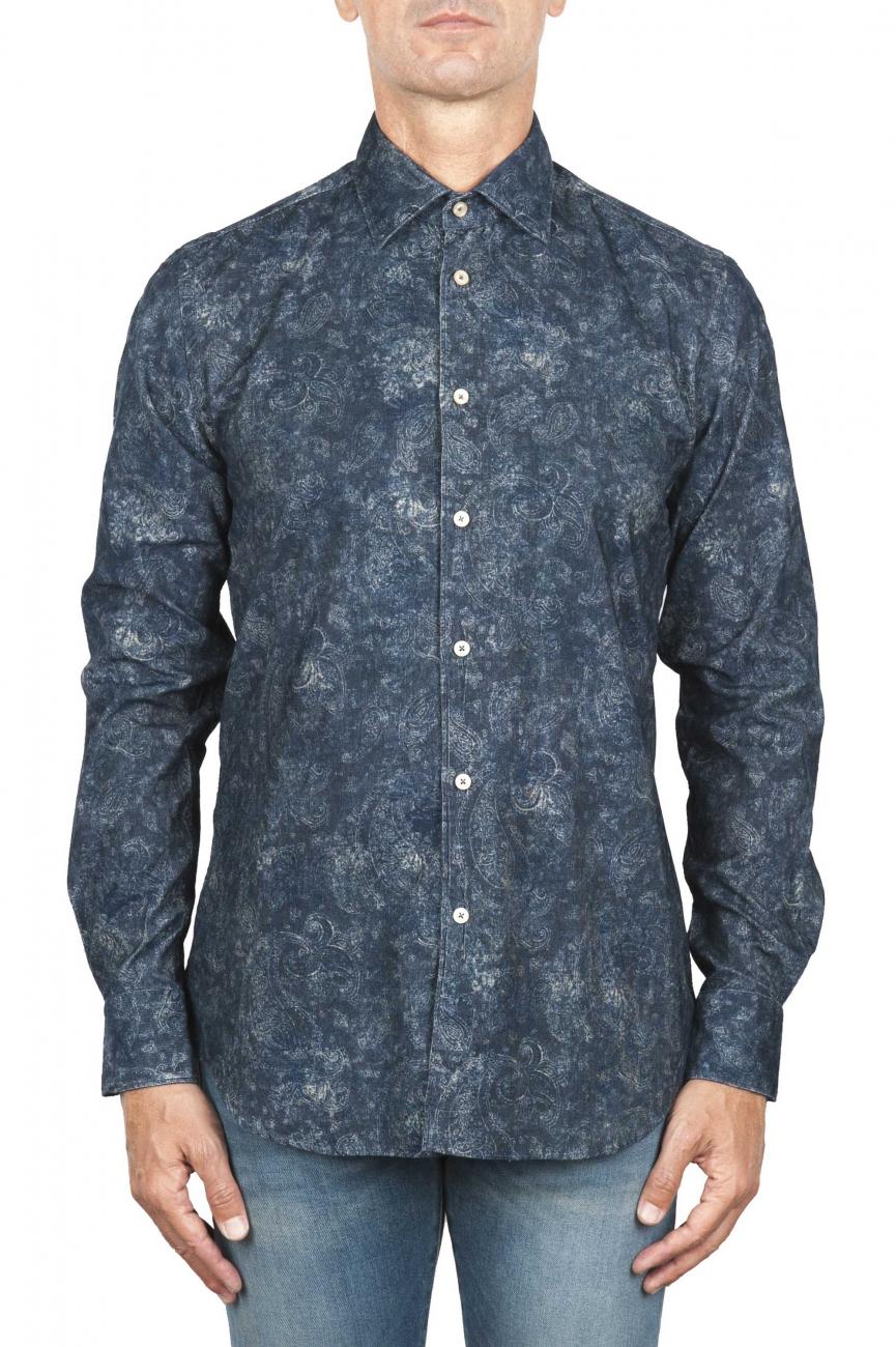 SBU 01823_19AW Camicia in velluto stampata fantasia in cotone blu 01