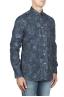 SBU 01823_19AW Camicia in velluto stampata fantasia in cotone blu 02