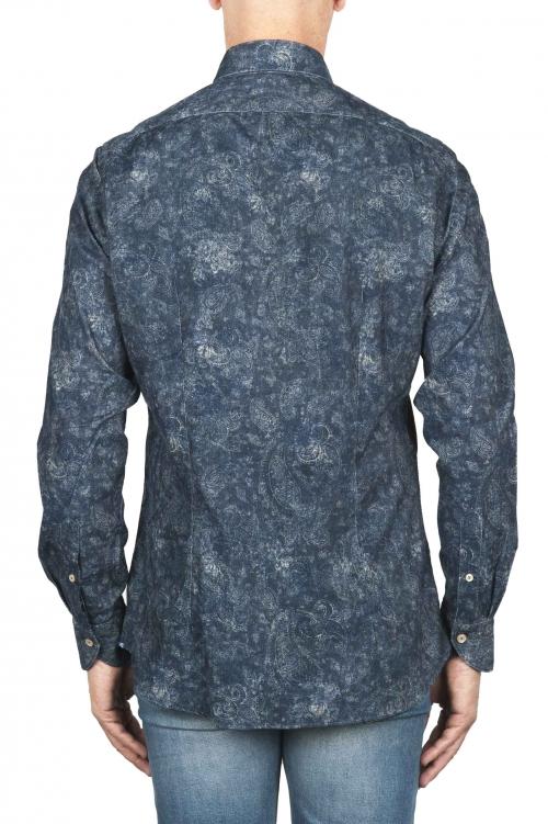 SBU 01823_19AW Chemise en velours côtelé bleu à motif floral 01