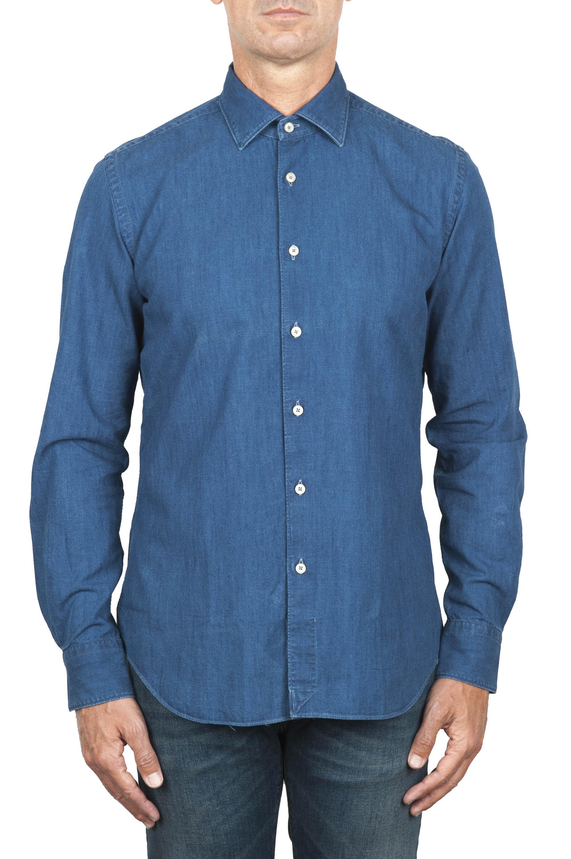 SBU 01824_19AW Camisa vaquera de algodón azul clásico teñido índigo puro 01