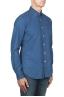 SBU 01824_19AW Camicia classica in cotone tinta con puro indaco blue 02