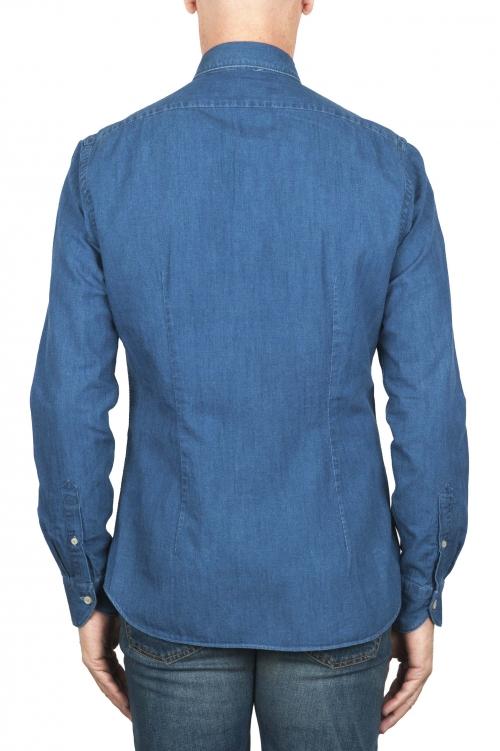 SBU 01824_19AW Chemise en denim de coton bleu classique teinté indigo 01