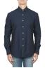 SBU 01825_19AW Camicia classica in cotone tinta con indaco naturale blue 01