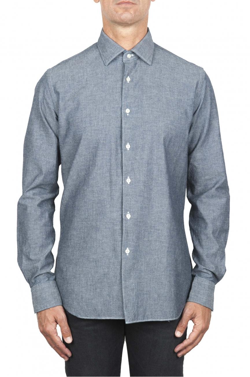 SBU 01826_19AW Camisa vaquera clásica de algodón gris 01