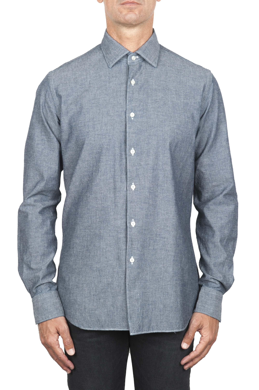 SBU 01826_19AW Camicia classica in denim di cotone grigio 01