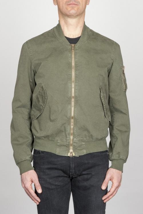 SBU - Strategic Business Unit - Classic Flight Jacket In Green Stone Washed Cotton