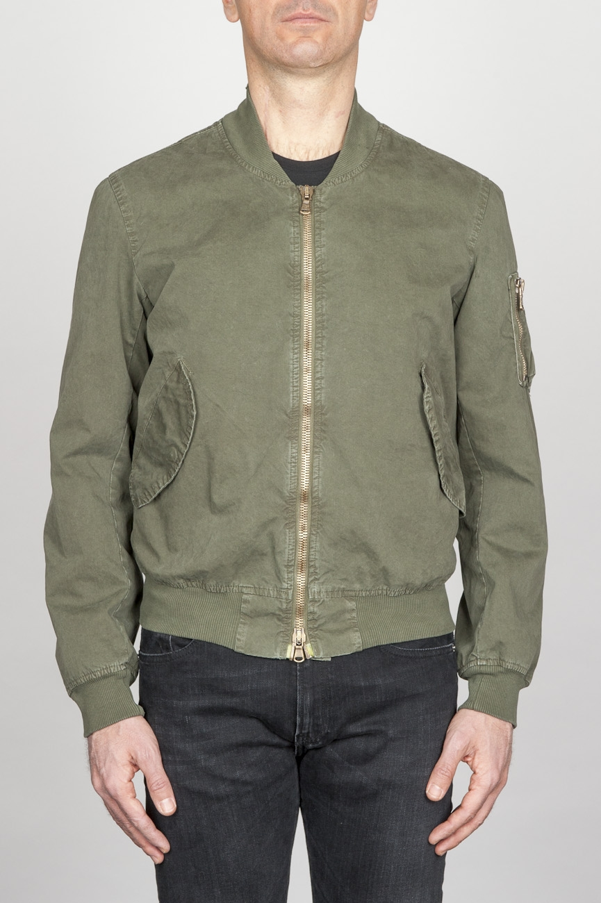 Classic Flight Jacket In Green Stone Washed Cotton