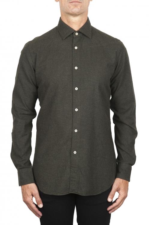SBU 01827_19AW Classic green cotton flannel shirt 01