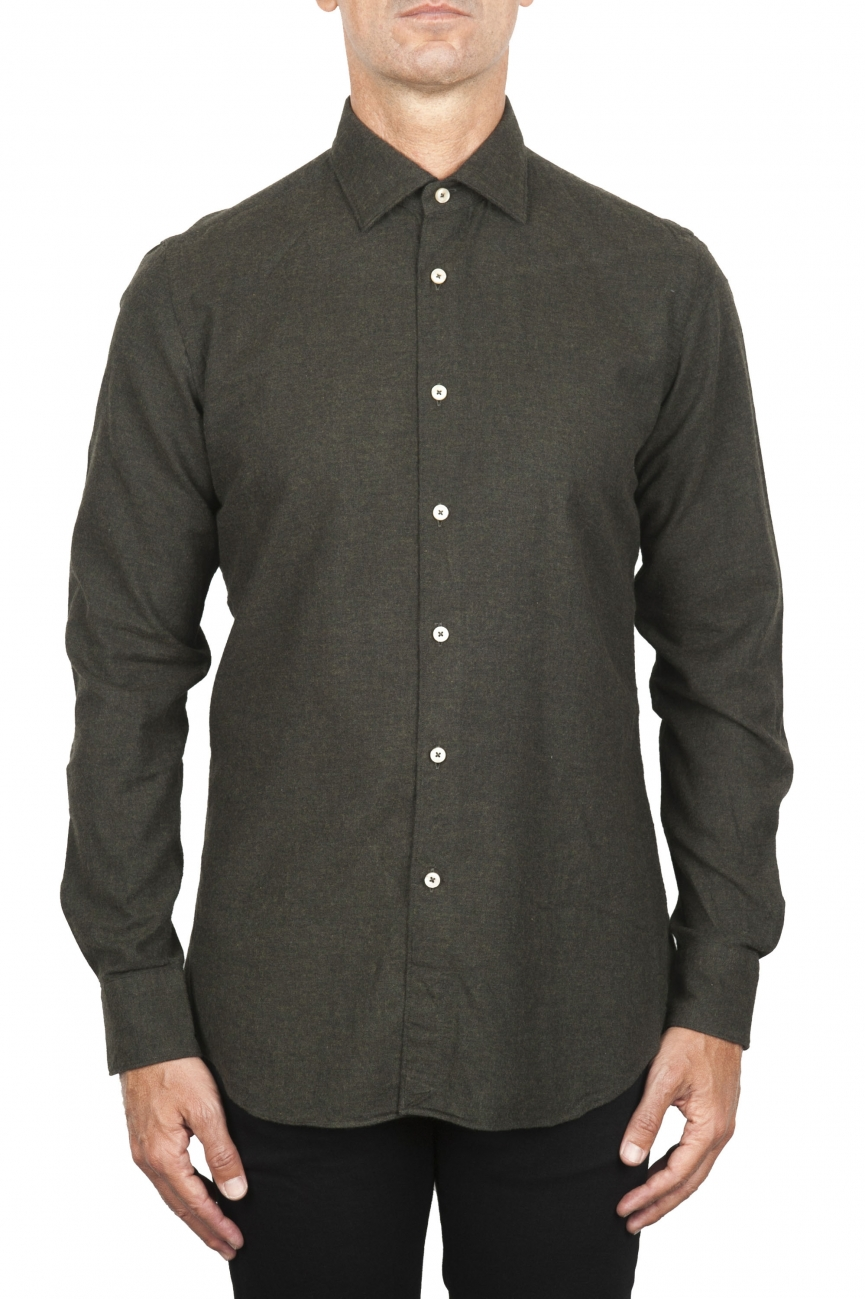 SBU 01827_19AW Classic green cotton flannel shirt 01
