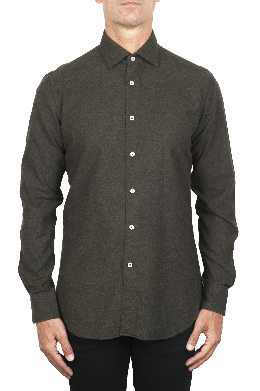 SBU 01827_19AW Camicia classica in flanella di cotone verde 01