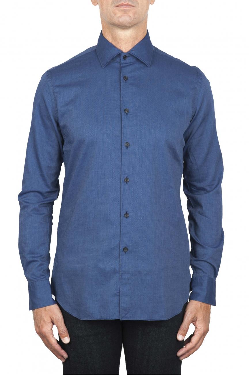 SBU 01828_19AW Camicia classica in cotone oxford blue 01