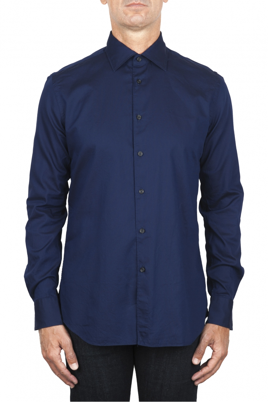 SBU 01829_19AW Classic navy blue cotton oxford shirt 01