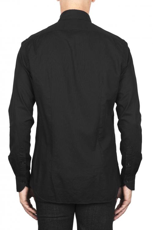SBU 01831_19AW Chemise oxford en coton noir classique 01
