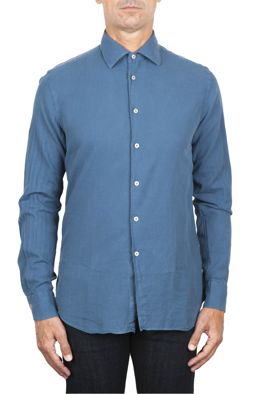 SBU 01832_19AW Camisa clásica de sarga de algodón azul 01