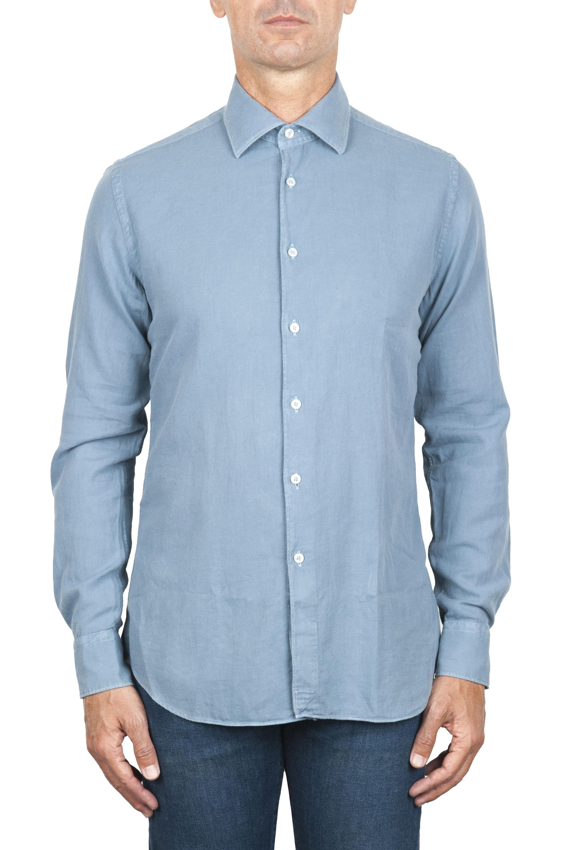 SBU 01833_19AW Camicia classica in twill di cotone celeste 01