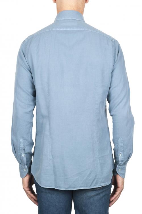 SBU 01833_19AW Camisa clásica de sarga de algodón azul claro 01