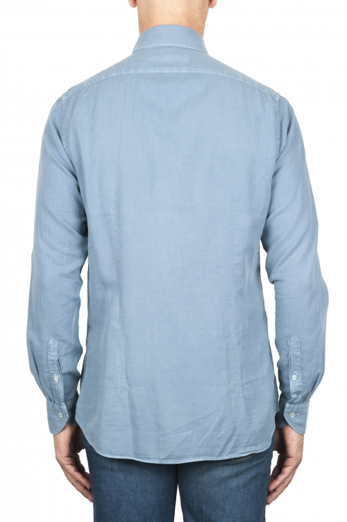 SBU 01833_19AW Classic light blue cotton twill shirt 01