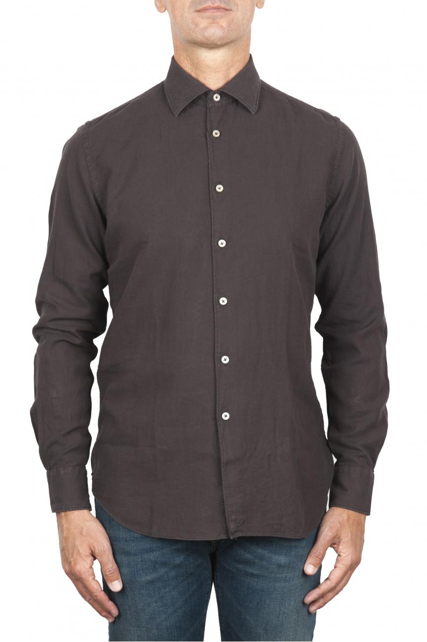 SBU 01834_19AW Camicia classica in twill di cotone marrone 01