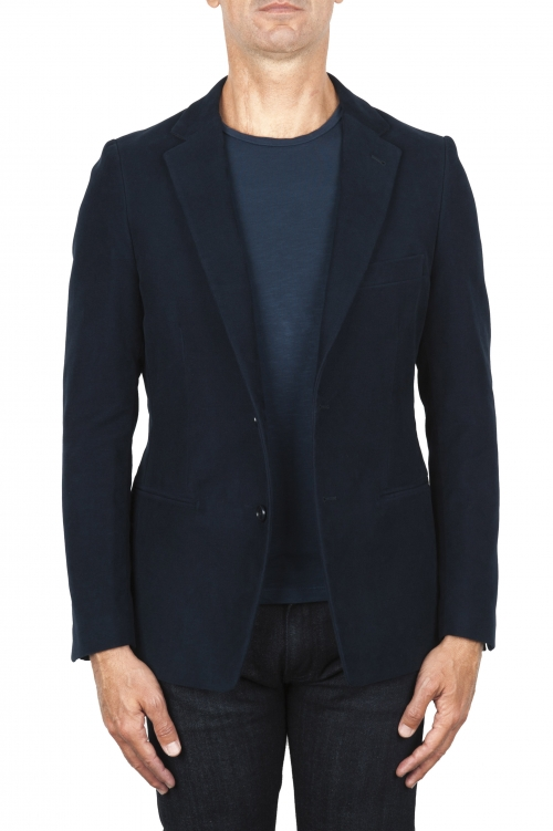 SBU 01835_19AW Blue moleskin sport jacket unconstructed and unlined 01