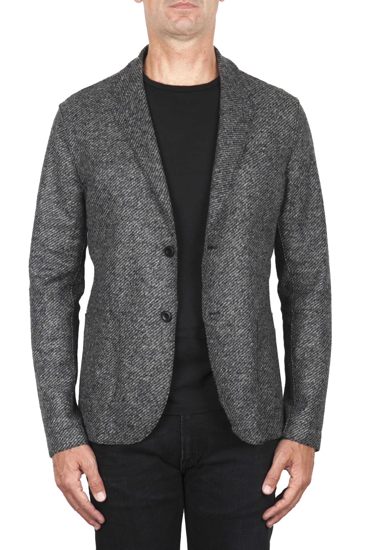 SBU 01836_19AW Blazer decostruito sfoderato in misto lana grigio 01