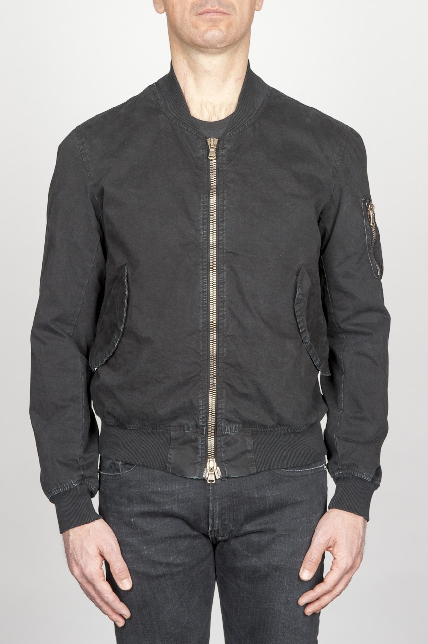 SBU - Strategic Business Unit - Classic Flight Jacket In Cotone Stone Washed Nera