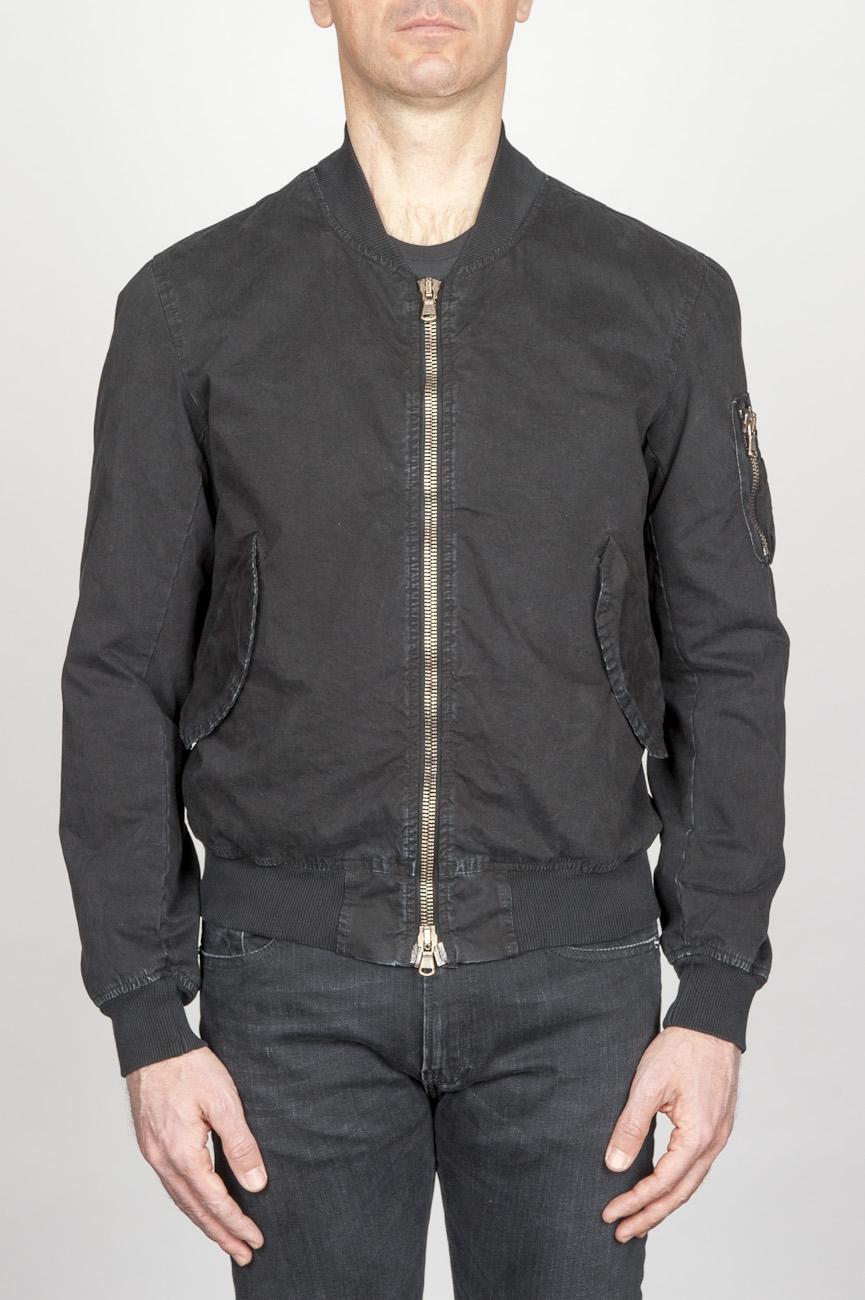 SBU - Strategic Business Unit - Classic Flight Jacket In Black Stone Washed Cotton