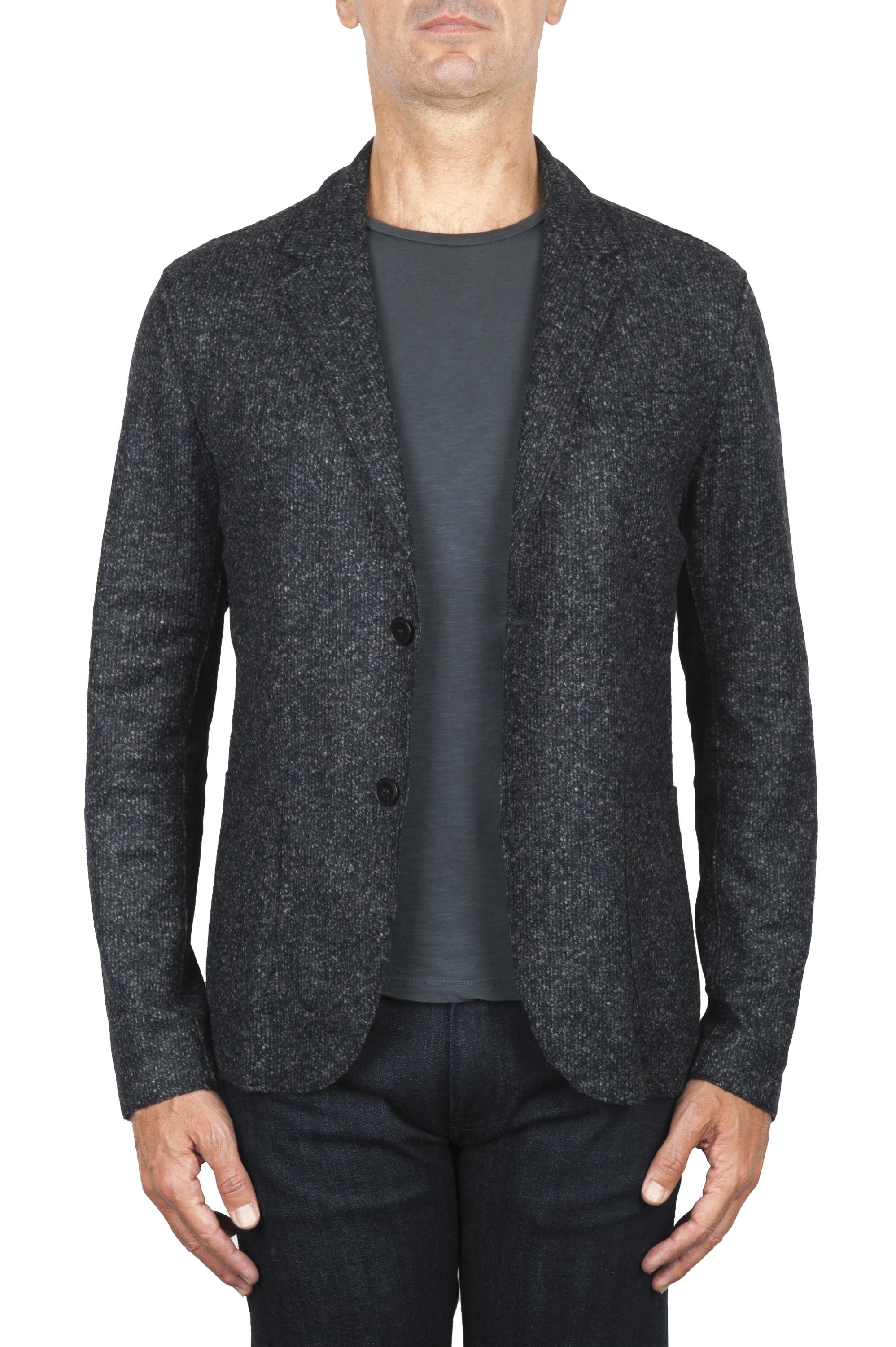 SBU 01837_19AW Black wool blend sport blazer unconstructed and unlined 01