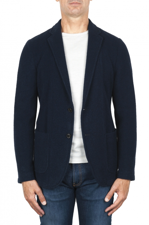SBU 01838_19AW Navy blue wool blend sport blazer unconstructed and unlined 01