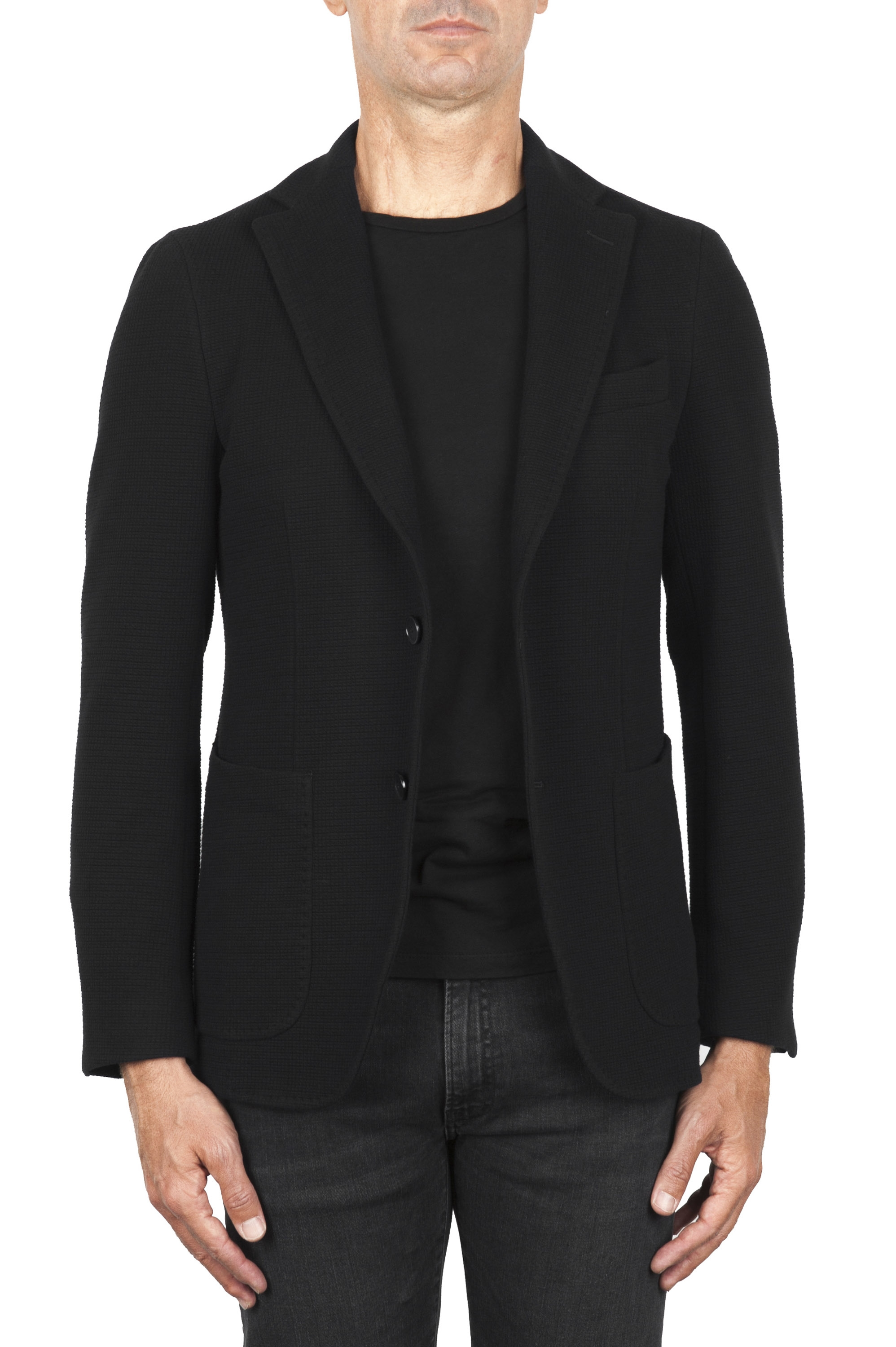 SBU 01840_19AW Black stretch cotton sport blazer unconstructed and unlined 01
