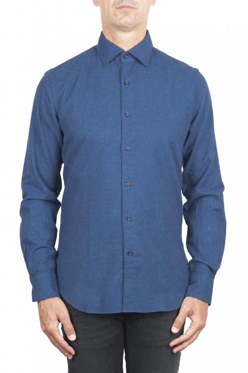 SBU 01308_19AW Camisa de franela índigo de algodón suave 01