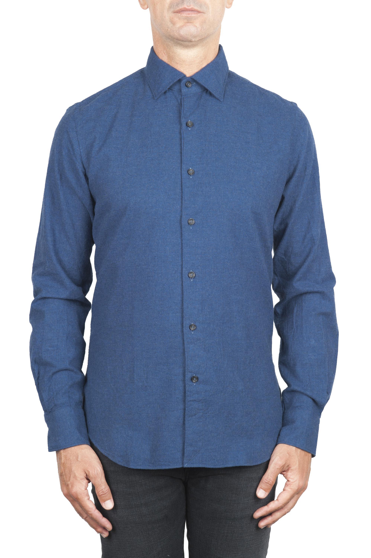 SBU 01308_19AW Camicia in flanella di cotone tinta unita indaco 01