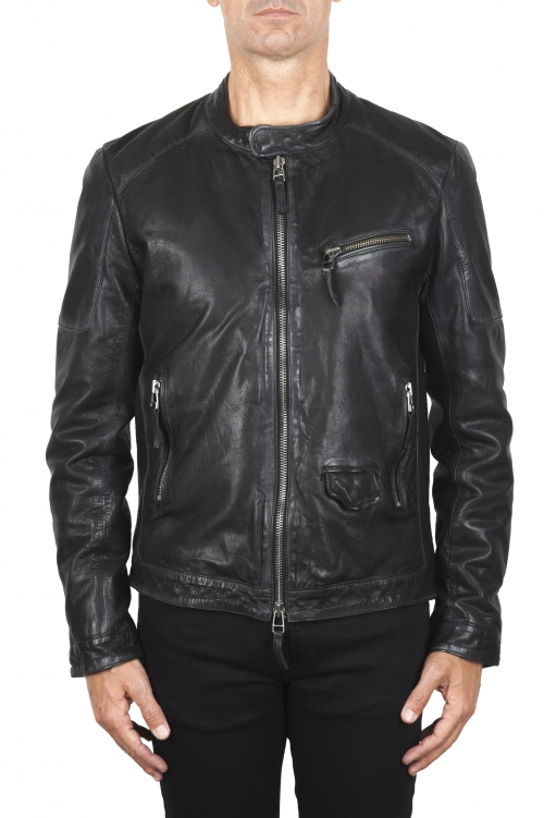 SBU 01844_19AW Padded black leather biker jacket 01