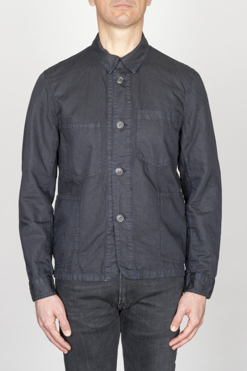 Stone Washed Blue Work Jacket In Mixed Cotton And Linen