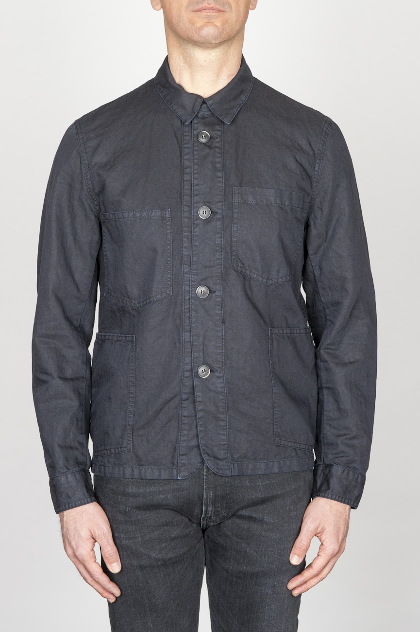SBU - Strategic Business Unit - Stone Washed Blue Work Jacket In Mixed Cotton And Linen