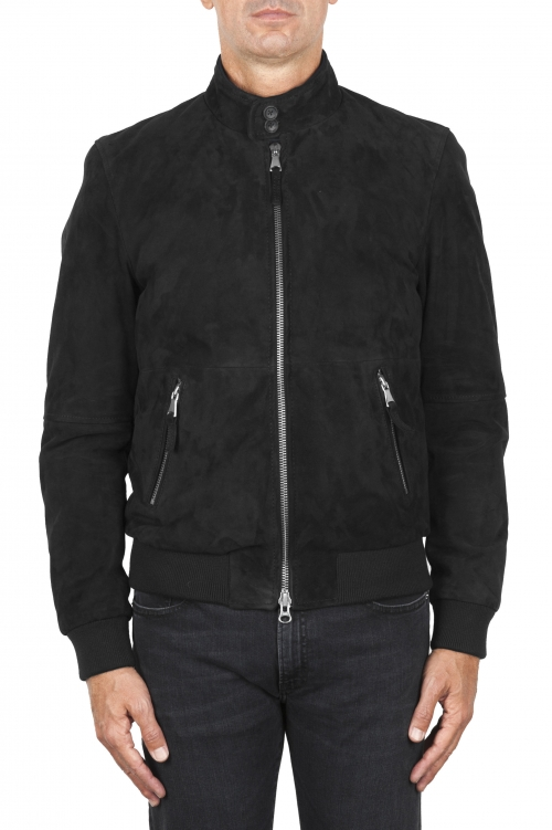 SBU 01846_19AW Padded black leather bomber jacket 01