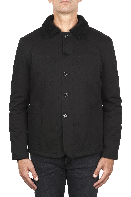 SBU 01847_19AW Padded black work jacket with ecological fur 01