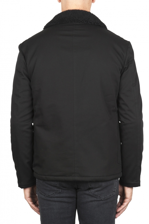SBU 01847_19AW 環境にやさしいファー付きのパッド入りブラックワークジャケット 01