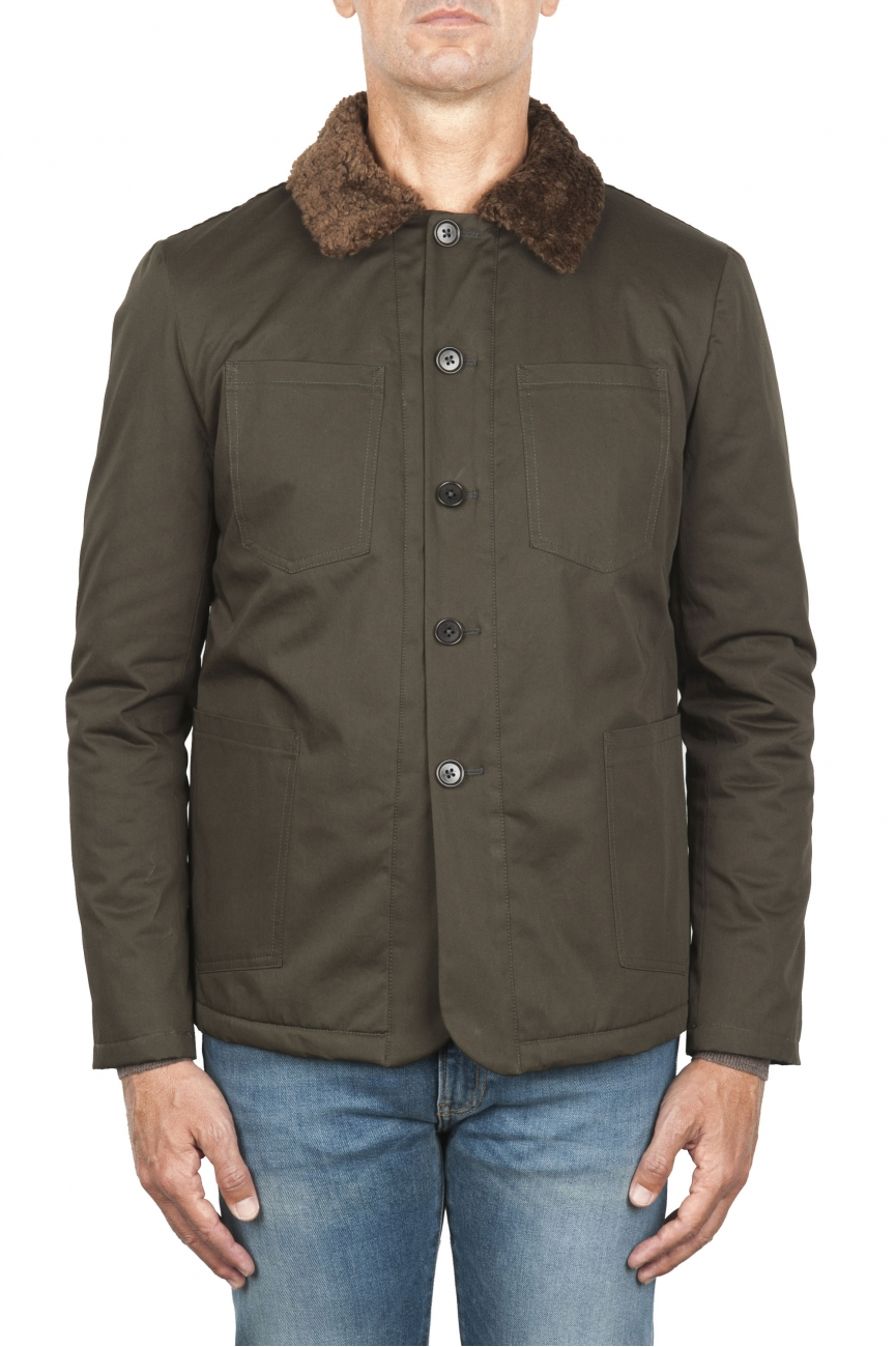 SBU 01850_19AW Padded green work jacket with ecological fur 01